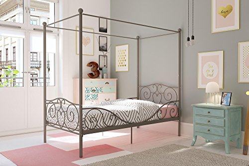 (DHP Canopy Bed with Sturdy Bed Frame, Metal, Twin Size - Pewter)