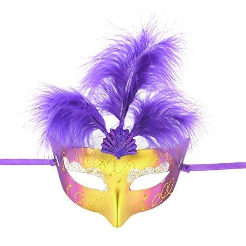 eDealMax Plástico de Nylon auto Lazo púrpura Pluma decoración señoras que bailan la máscara del -