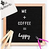 Bee Authentic Letter Board with Cursive Words | 10x10 Black Felt Changeable Message Board Sign with Oak Frame | 297 Letters, Numbers, Symbols, Shapes and Cursive Words