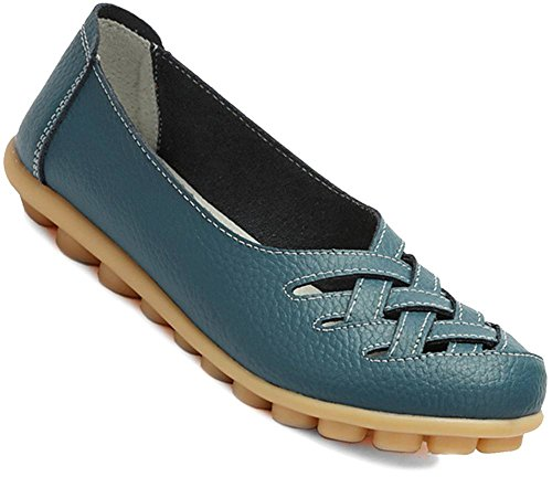 Fangsto Women's Cowhide Leather Loafers Flats Sandals Slip-On US Size 7.5 Dark Teal