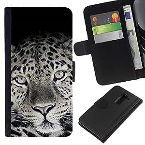 LG G2 D800 D802 D802TA D803 VS980 LS980 , la tarjeta de Crédito Slots PU Funda de cuero Monedero caso cubierta de piel ( Cute Lovely Leopard Fur Pattern Black White)