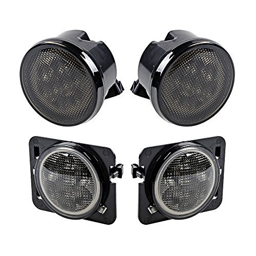 Combo for 2007-2017 Jeep Wrangler JK JKU Smoke Lens Amber LED Front Turn Signal Light + Fender Side Marker Parking Lamp