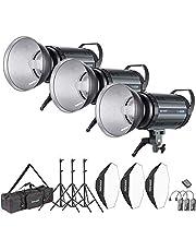 Neewer Kit d'Illuminazione Strobo Flash 1200W da Studio per Fotografia con Attacco Bowens: (3) Monoluce 400W (3) Diffusore (3) Softbox (3) Stativo (1) RT-16 Trigger (1) Borsa (S-400N)