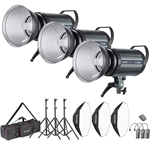 Neewer 1200W Studio Strobe Flash Photography Lighting Kit:(3)400W Monolight,(3) Reflector Diffuser,(3) Softbox,(3) Light Stand,(1) RT-16 Wireless Trigger,(1) Bag for Shooting Bowens Mount(S-400N)