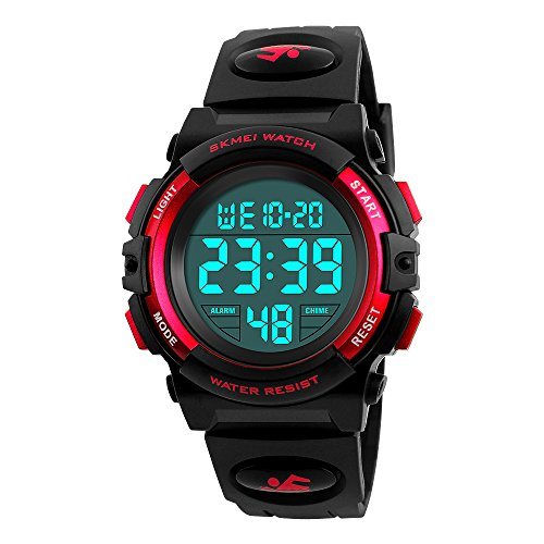 Mico Boys Digital Watch for Teen Boys, Girl Watch Toys for 6-13 Year Old Boy Girls Gift for Teen Boys Age 9-15 Present Waterproof Led Watches (D-red)
