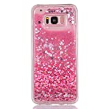 Gostyle Samsung Galaxy S7 Edge Glitter Liquid Case,Pink Love Heart Pattern Flexible Full Soft TPU Case with Flowing Liquid Quicksand Floating Bling Sparkle Glitters Back Protective Cover.