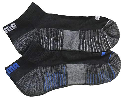 (Puma Men cool cell Low Cut Socks 6 Pack Charcoal/Gray/Black/Blue)