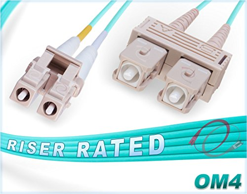 FiberCablesDirect - 8M OM4 LC SC Fiber Patch Cable | 100Gb Duplex 50/125 LC to SC Multimode Jumper 8 Meter (26.24ft) | Length Options: 0.5M-300M | 1/10/40/100gb mmf dplx lc/sc 100gbase aqua ofnr sc-lc ()