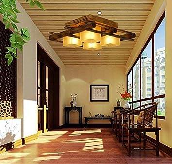 GCCI Lámpara de bambú Retro masiva del Restaurante del Techo ...