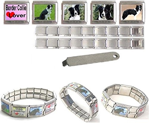 Border Collie 18mm en acier inoxydable Mega Italian Charms Bracelet