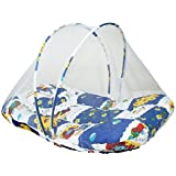Littly Contemporary Cotton Baby Bedding Set with Foldable Mattress, Mosquito Net and Pillow - Random Print (Blue, White)
