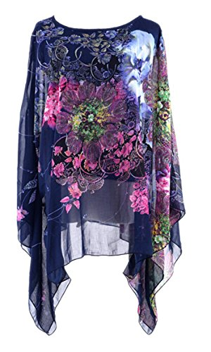 - iNewbetter Women's Chiffon Summer Tunic Top Cover Up One Size Scarf Printed Blouse Blue