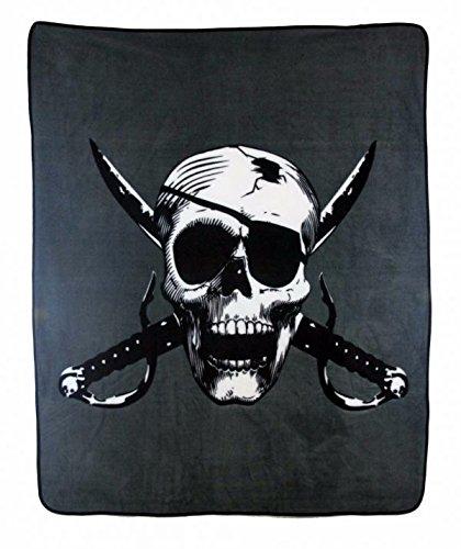 (MWS Cutlass Crossbones Pirate Skull Sword Patch 50X60 inch Fleece Blanket Throw)