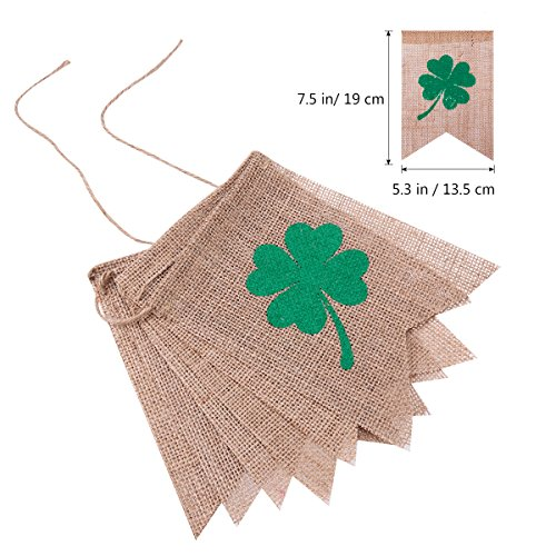 Tinksky St. Patrick's Day Decorations Irish LUCKY Four Leaf Clover Shamrock Burlap Banner Flags