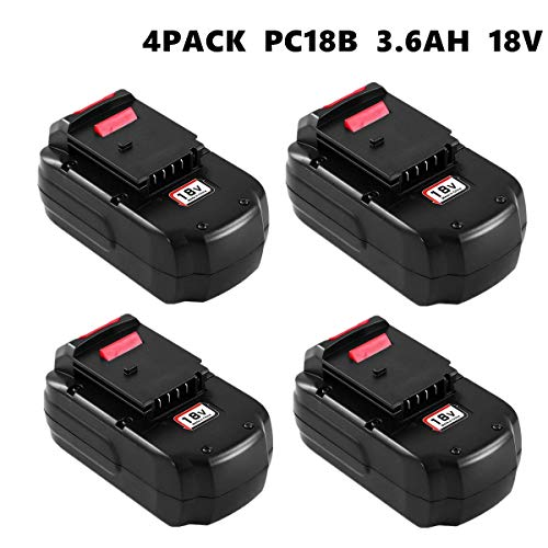 4Pack 3.6Ah NI-MH Replacement for Porter Cable 18V Battery PC18B PCC489N PCMVC PCXMVC