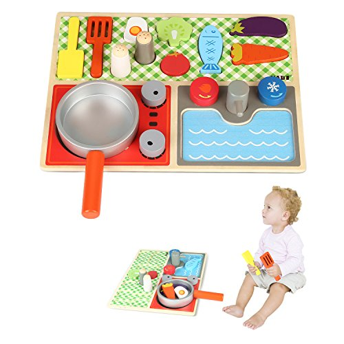 Amagoing Baby Pretend Play Wooden Food Kitchen Cooking Toy Set, Educational Toy