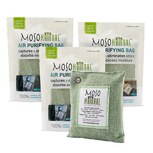MOSO NATURAL Air Purifying Bag 3 Pack. Bamboo Charcoal Air Freshener, Deodorizer, Odor Eliminator, Odor Absorber For Cars and Closets. 200g Green Color