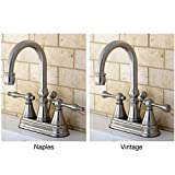 Kingston Brass High Spout Centerset Satin Nickel Bathroom Faucet Naples Lever