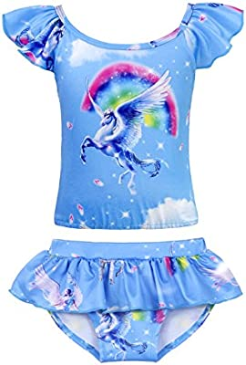 AmzBarley Unicorn Girls Two-Pieces Swimsuit Toddler Swimwear Bikinis Set