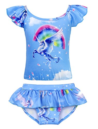 Toddler Tankini 2 Girls Piece (Cotrio Girls Two-Pieces Swimming Suit Rainbow Unicorn Tankini Swimsuits Toddler Swimwear Baby Girl Bikinis Size 4T (Blue))
