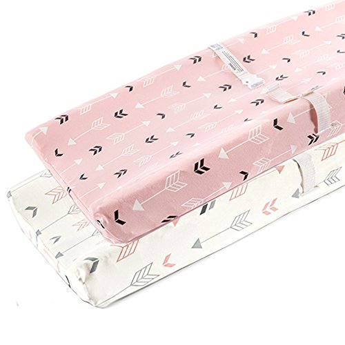 Pink Changing Table - Stretchy Changing Pad Covers-BROLEX 2 Pack Jersey Knit Change Pad Covers For Girls Boys,Pink & White Arrow