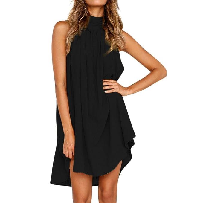 8a90af99cffe3 Coromose Women Plus Size Floral Print Vintage Sleeveless Party Swing Dresses  (S, Black)