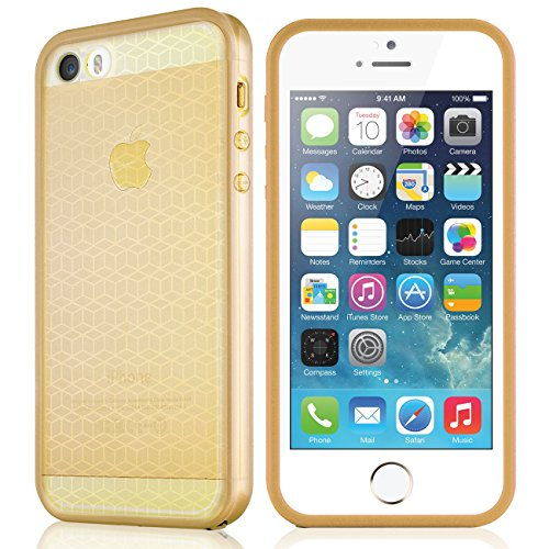Case Cover Protector Faceplate (Waterproof case for iPhone 5 5S, eMobile Built-in Screen Protector Clear Face Plate Dust Dirt Proof Shockproof Ultra thin Silicone TPU Plastic Case Cover for Apple iPhone 5 5S [GOLD])