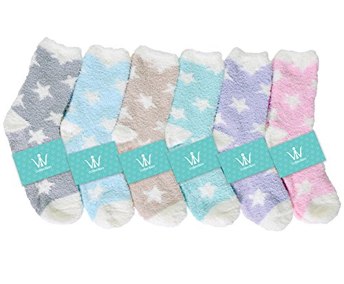 Fluffy Soft Warm Fuzzy Winter Slipper Socks Assorted Stars V2  6 Pack