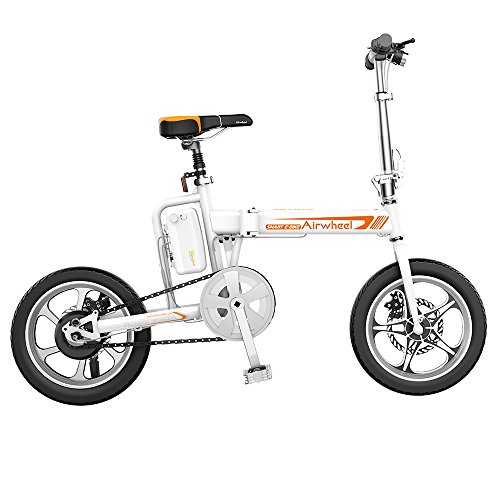 Cheap Airwheel R5 Foldable Scooter Electric Bicycle with Detachable Battery Pedal Free and App Enabled 214.6wh e-Bike with USB Port to Charge White free shipping