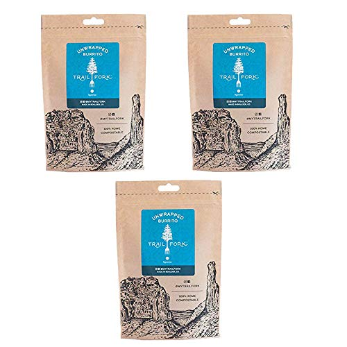 TrailFork Unwrapped Burrito - Healthy, dehydrated Backpacking Food - Instant, Vegetarian, for Camping and Emergency - 3 Pack
