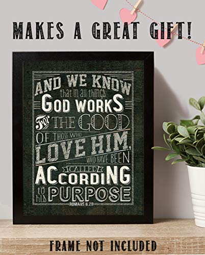 God Works All Things-Romans 8:28 Bible Verse Wall Art- 8x10-Rustic Sign Typography Image Ready To Frame- Scripture Wall Art-Home Décor, Office Décor-Christian Gifts. Inspiring & Encouraging Verse. ()