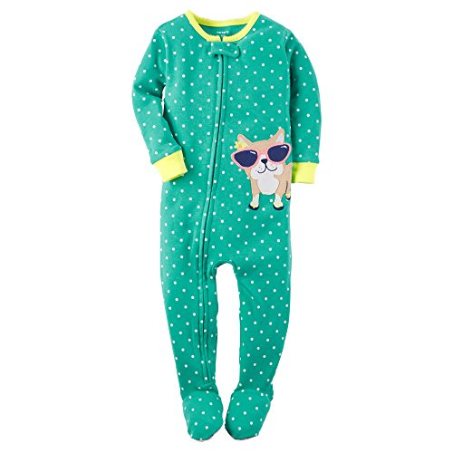 Footed Frog Sleeper Girls (Carter's Baby Girls' 1-Piece Snug Fit Cotton Sleeper Pajamas (24 Months, Turquoise))