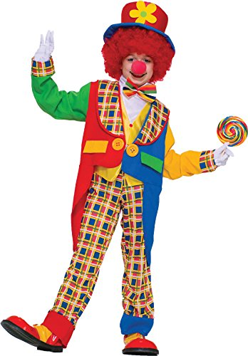 Clown on The Town Circus Carnival Theme Fancy Dress Child Halloween Costume, Child L -