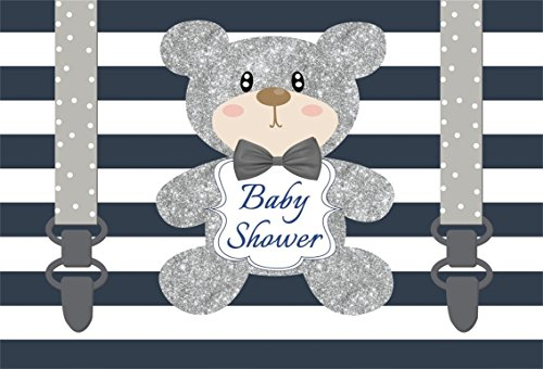 CSFOTO 8x6ft Background for Silver Bear With Strap Sweet Baby Shower Photography Backdrop Blue Waving Striped Pregnancy Announcement Welcome Little One Kids Photo Studio Props Vinyl Wallpaper (Photo Digital 8' Album)