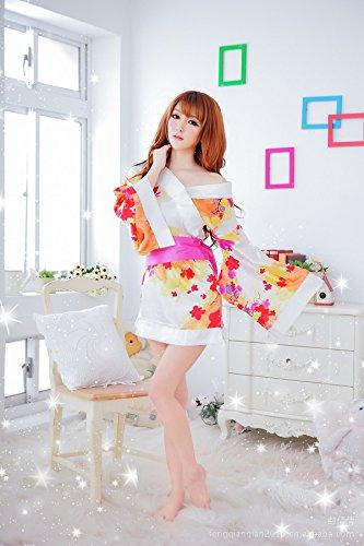 Blanc Robe Satin Femelle Sexy MJPT Lingerie du Robe Fleurs soir Kimono Peignoir qTaPCxgwtn