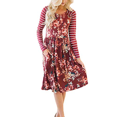 Pleated Bow Clutch - Morecome,Women Long Sleeve A-line Loose Bright Floral Print Stripe Casual Dress Party Dress