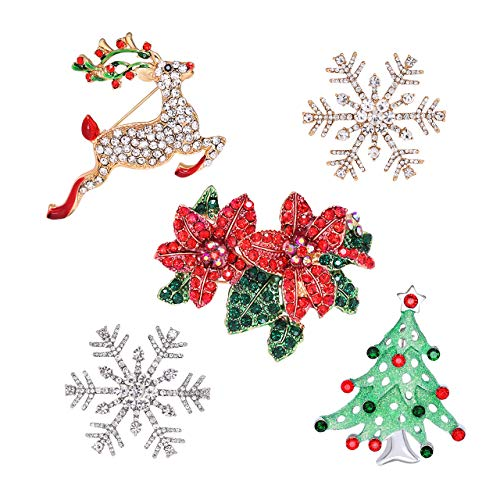 HSWE Christmas Brooches Pins Statement Jewelry Set for Women Girls Men Crystal Xmas Pins Festive Thanksgiving Gift (Jewelry Set)