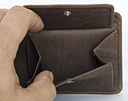 2af5e7874efc Men's Compact Sized Natural Strong Genuine Leather Wallet: Amazon ...