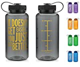 34oz Inspirational Fitness Workout Sports Water Bottle with Time Marker | ...