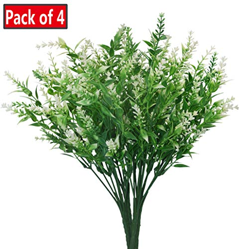 Artificial Plants Lavender Faux Breath UV Resistant Fake Shrubs Simulation Greenery Bushes House Office Garden Patio Indoor Outdoor Decor Wedding Table Flowers Arrangement Bouquet Filler - ()