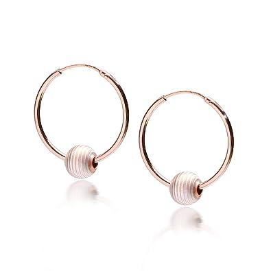 6f352b0d5f97 MATERIA Rose Oro Pendientes de aro plata de ley 925 con bolas rayas bicolor  Deutsche Fabricación   So de 325  Amazon.es  Joyería
