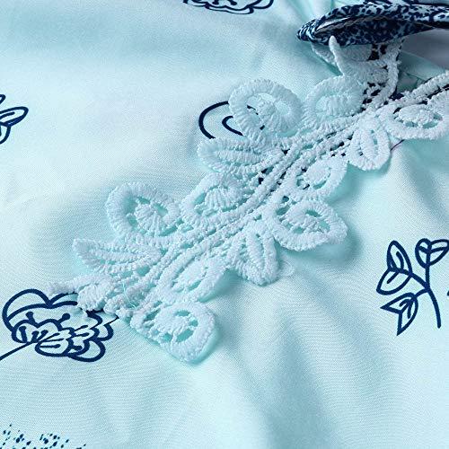 Femme Manches Shirt Size Vrac Longues en Bringbring Imprim Chemisier T Bleu Chic Dentelle V Bandage Plus Clair Col Tops wxqpwrEf