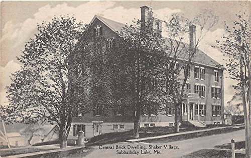 Old Vintage Shaker Post Card Central Brick Dwelling, Village Sabbathday Lake, Maine, ME, USA Unused