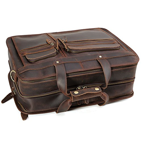 "Tiding Cowhide Leather Vintage Laptop Bag – Durable, Spacious, Stylish Carry On Business Bag – Fits 17.3"" Laptop – Perfect for The Busy Businessman by Tiding (Image #8)"
