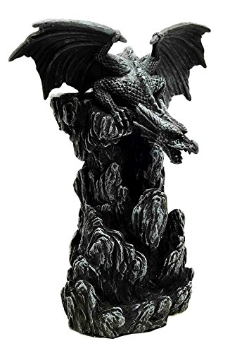 Ebros Gift Dark Smoky Mountain Chernunos Black Dragon Statue With Backflow Incense Cone Tower Burner Feature Medieval Renaissance Fantasy Myth And Magic Figurine