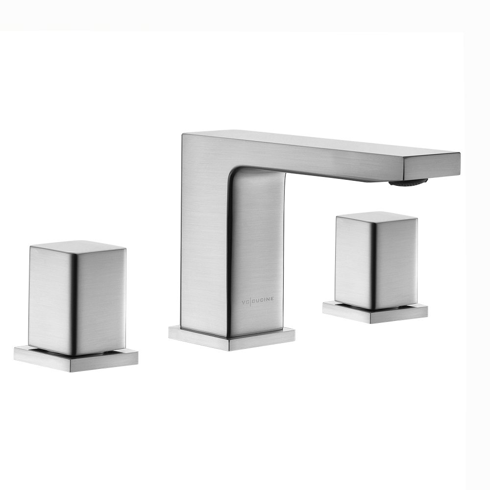 VCCUCINE Contemporary 3 Holes Double Handles Stainless Steel Widespread Brushed Nickel Bathroom Faucet, Lavatory Vanity Vessel Sink Faucet Without Pop-Up Drain