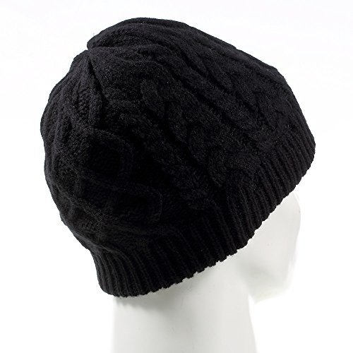 Wireless Music Hat, Knit Winter Warm Beanie w/ Built-in Compatible with Bluetooth Stereo Headphone, Microphone for Hands-Free Calling - Black/Braid Pattern