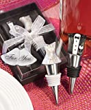 One Dozen Bride and Groom Wine Bottle Stopper and Opener Set for Wedding Gift or Party Favors