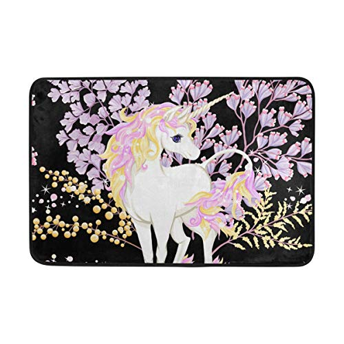 WIHVE Area Rugs Fantastic Unicorn Flowers Glitter Doormat Entrance Floor Mat Non-Slip Soft Absorbent Bathroom Kitchen Dining Room Carpet 2' x 1.5'