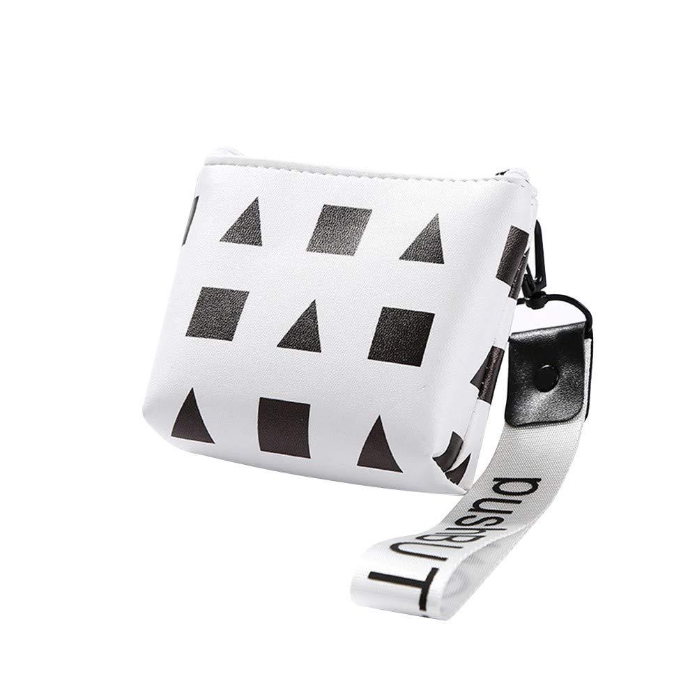 Lomsarsh New Waterproof Zipper Pencil Case Cute Geometry Portable Key Coin Purse Fabric PU Makeup Change Bag
